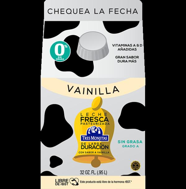 Leche fresca pasteurizada Tres Monjitas de larga duración con vainilla, sin grasa