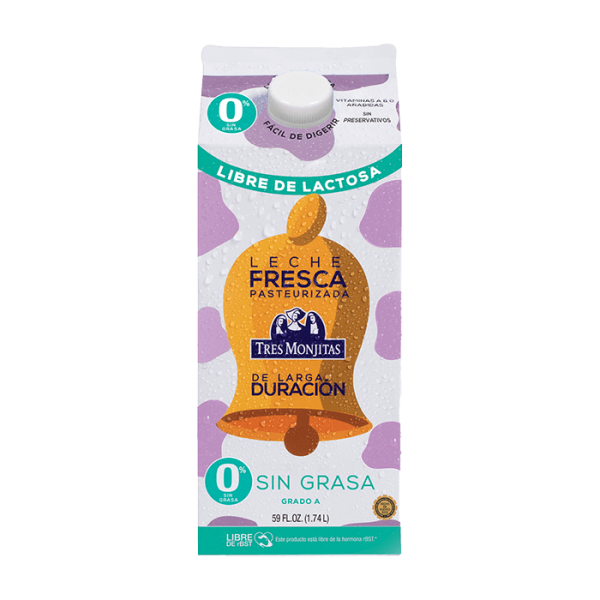 Tres Monjitas Leche Fresca Sin Grasa Libre de Lactosa Pasteurizada de larga duración 59 Oz