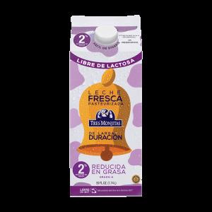Tres Monjitas Leche Fresca Reducida en Grasa 2% Libre de Lactosa Pasteurizada de larga duración 59 Oz