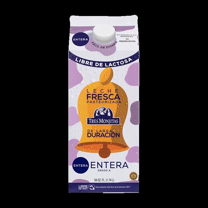Tres Monjitas Leche Fresca Entera Libre de Lactosa Pasteurizada de larga duración 59 Oz